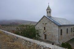 亚美尼亚中世纪修道院Amaras教会和防御墙壁  免版税图库摄影
