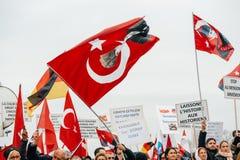亚美尼亚人和土耳其犹太人散居地抗议 免版税库存照片