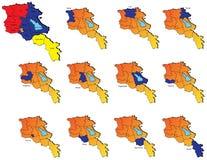 亚美尼亚省地图 免版税库存照片