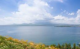 亚美尼亚秋天sevan日的湖 湖、天际和云彩的看法 黄色野花 免版税库存图片