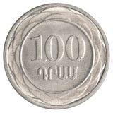 100亚美尼亚美元硬币 库存图片