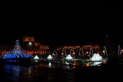 亚美尼亚耶烈万中央共和国正方形新年点燃 库存照片