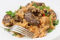 亚美尼亚肝脏肉饭 免版税库存照片