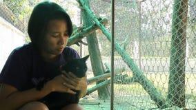 亚裔一起使用妇女和暹罗猫的最好的朋友 股票视频