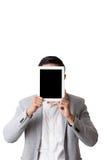 亚裔与姿态标志的人被隔绝的画象和背景 库存照片