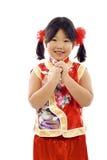 亚裔中国女孩少许新年度 免版税库存图片
