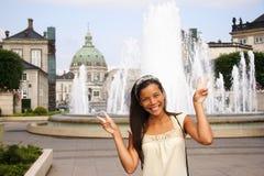 亚裔丹麦游人妇女 免版税库存照片