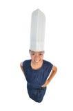 亚裔主厨中国女孩帽子s佩带 免版税库存图片
