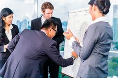 亚裔买卖人开会议在办公室 免版税图库摄影