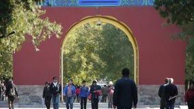 亚裔人民在柏树走停放,中国北京红色门古老大厦 影视素材