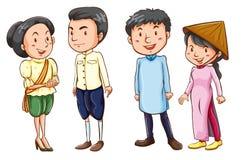亚裔人民的简单的色的剪影 图库摄影