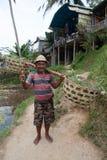 亚裔农夫在巴厘岛 免版税库存照片