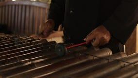 亚裔印度尼西亚巴厘语音乐家gamelan仪器 特写镜头手使用 没编辑的,未加工的文件 股票视频