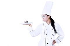 确信的厨师和点心 免版税库存图片