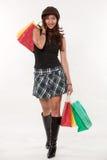 亚裔可爱的购物三十妇女 免版税库存图片
