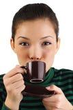 亚裔咖啡妇女 库存图片
