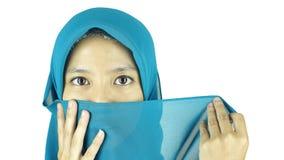 亚裔回教女孩画象  免版税库存图片