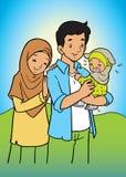 亚裔回教家庭和婴孩 皇族释放例证