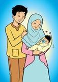 亚裔回教家庭和婴孩 库存照片