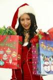 亚裔圣诞节妇女 免版税库存照片