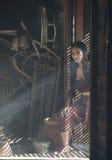 亚裔在泰国戏曲的妇女泰国礼服 免版税图库摄影