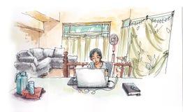 亚裔女孩与从家庭hadn绘画illustr的计算机一起使用 库存图片