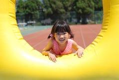 亚裔女孩使用的一点 免版税库存照片