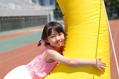 亚裔女孩使用的一点 免版税图库摄影