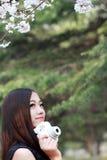 亚裔女孩在春天 库存图片