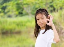 亚裔女孩纵向  库存照片
