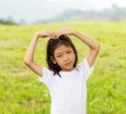 亚裔女孩纵向  库存图片
