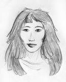 亚裔女孩-铅笔剪影 免版税库存照片