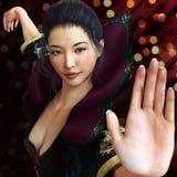 亚裔女性,实践在传统服装的战斗机武术有bokeh背景 Kung fu和空手道姿势 库存照片