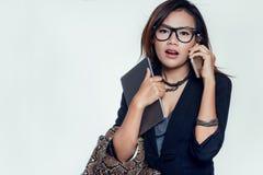 亚裔妇女使用 免版税库存图片