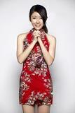 年轻亚裔妇女愉快的春节 图库摄影