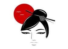 亚裔妇女的剪影 向量例证