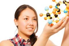 亚裔学生聚集的分子模型 库存照片