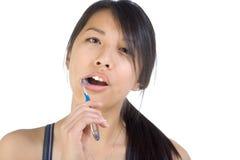 亚裔干净的牙妇女 库存图片