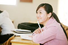 亚裔教室女孩 图库摄影