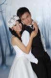 亚裔新娘和新郎 免版税图库摄影