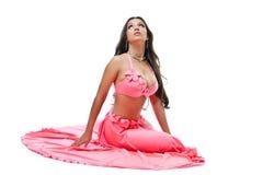 亚裔服装舞蹈演员新鲜的俏丽的玫瑰&# 免版税库存图片
