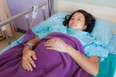 亚裔河床女性患者 免版税库存照片