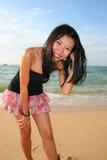 亚裔海滩女孩泰国 免版税库存照片