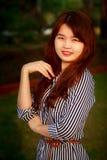 亚裔深色的长发女孩 库存照片