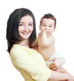 亚裔男婴母亲 免版税库存图片