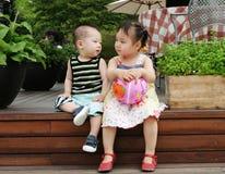 亚裔男孩女孩 库存照片