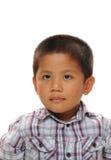 亚裔男孩看起来愉快 免版税库存图片