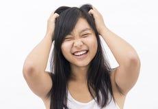 亚裔神经过敏的女孩 库存图片
