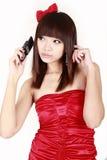 亚裔移动电话女孩 图库摄影
