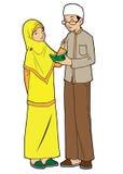 年轻亚裔穆斯林夫妇  免版税库存照片